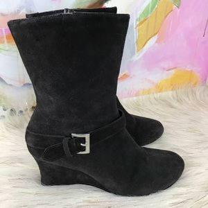 Torrid brown leather suede wedge ankle boots 10W